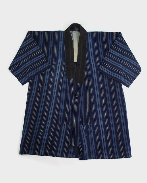 Vintage Light Blue, Indigo, and Cream Shima Noragi