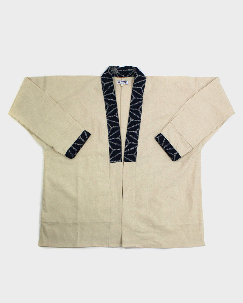 Modern Noragi Jacket, Natural with Indigo Large Asanoha