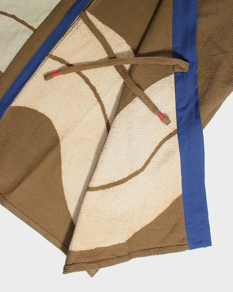 Modern Noragi Jacket, Brown with Tan Hikeshi Design and Blue Collar