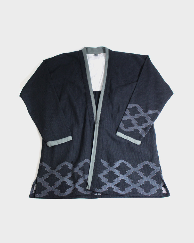 Modern Noragi Jacket, Black with Grey Collar, Matsukawabishi
