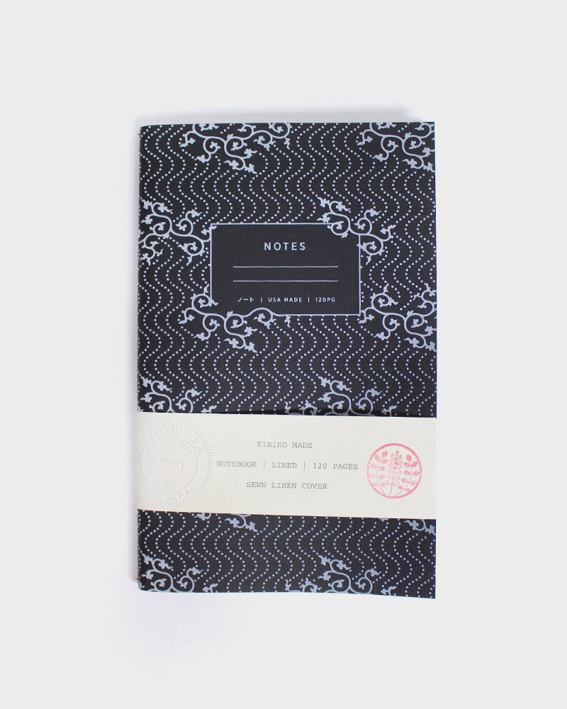 Lined Notebook, Black Karakusa