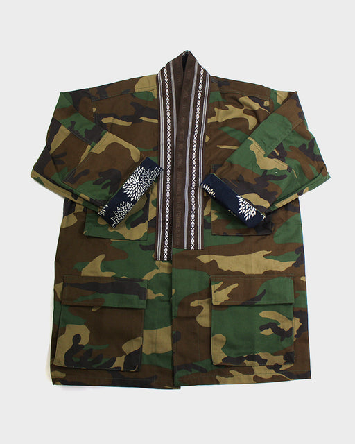 Camo Patched Military Jacket, with Brown Obi Collar XS