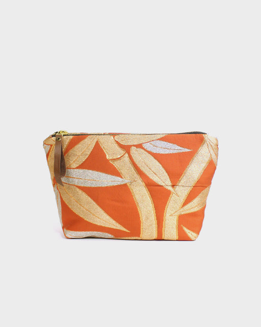 Obi Stand-Up Pouch, Orange & Gold Bamboo Leaves