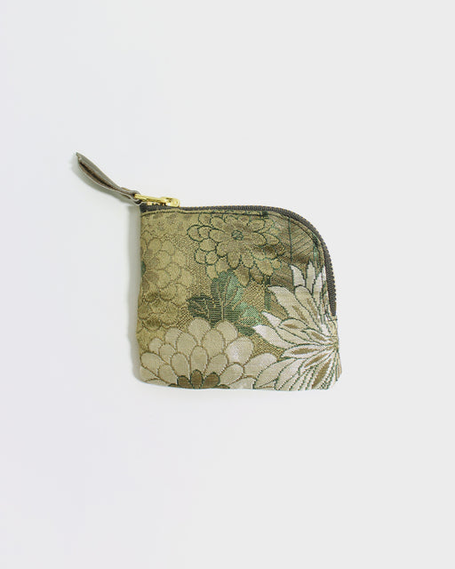 Zipper Wallet, Obi Green and White Kiku