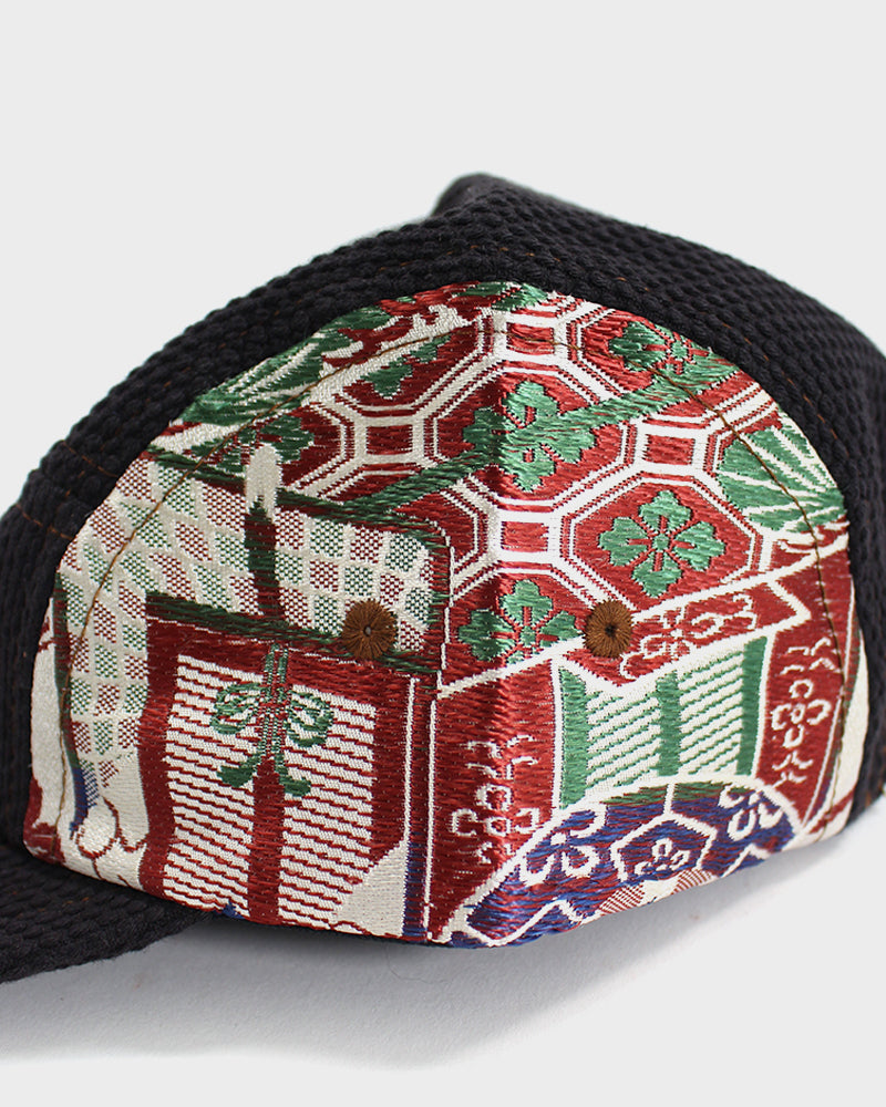 Sashi-Ori & Maru-Obi 5-Panel Cap, Kuwazome-Iro, Crane and Red Hanabishi