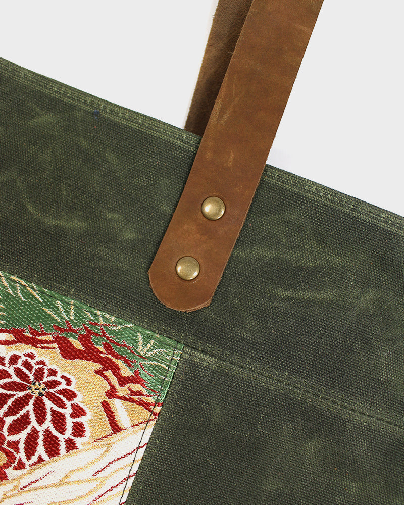 Waxed Canvas Obi Tote Bag, Green with Cranes and Kiku