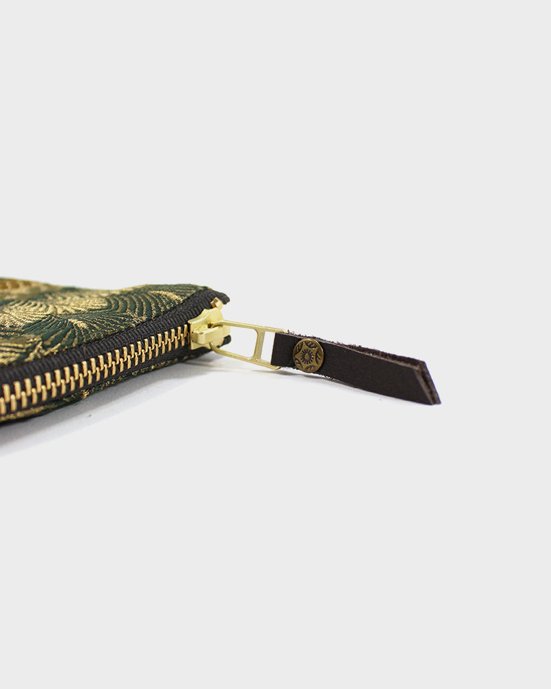 Zipper Wallet, Green and Gold Kiku Obi