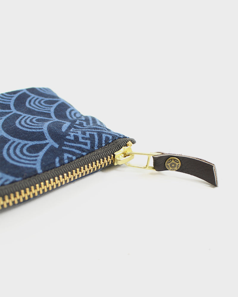 Zipper Wallet, Blue Sayagata and  Seigaiha