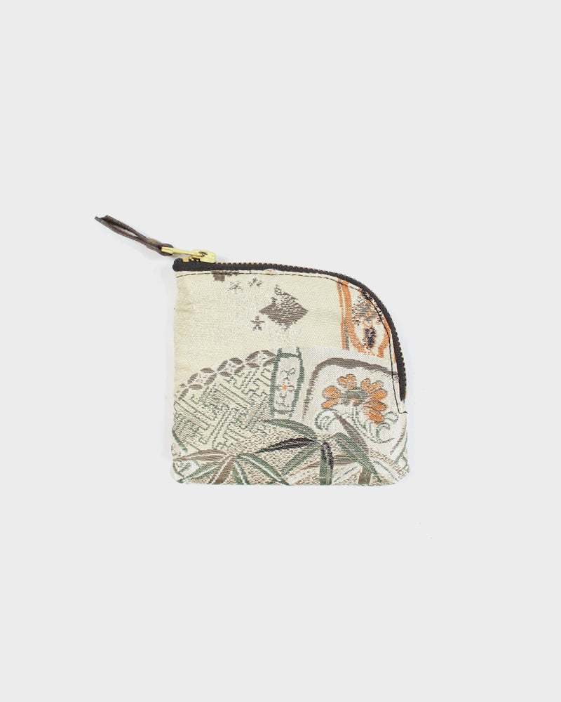Zipper Wallet, Orange and Cream Flowers and Cranes