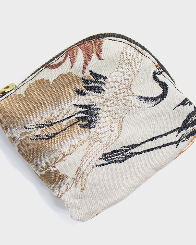 Zipper Wallet, Obi White, Black and Gold, Crane