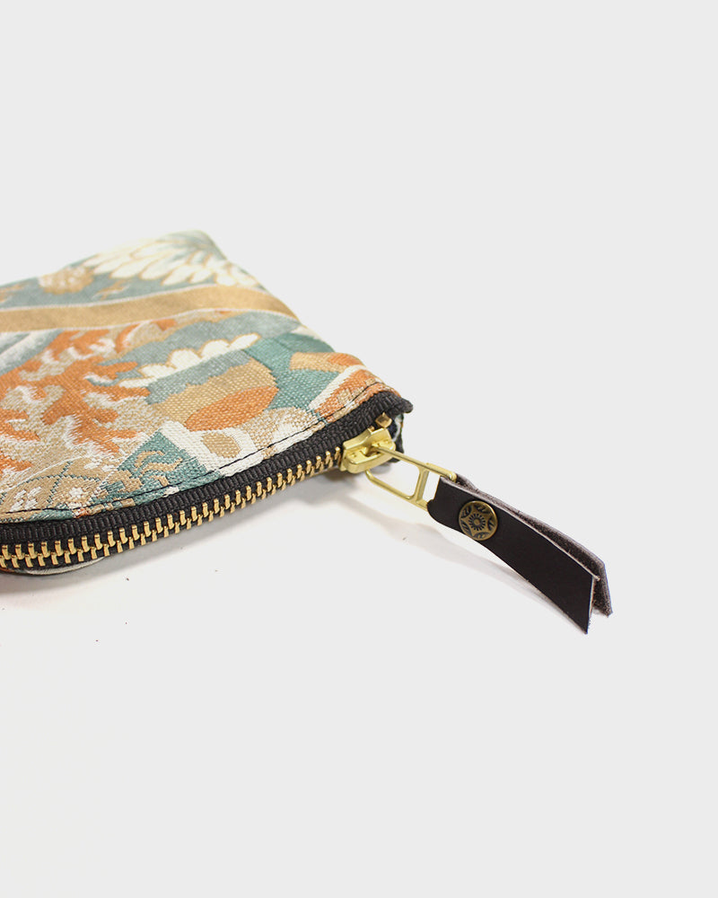 Zipper Wallet, Obi Light Blue and Gold, Kiku and Seigaiha