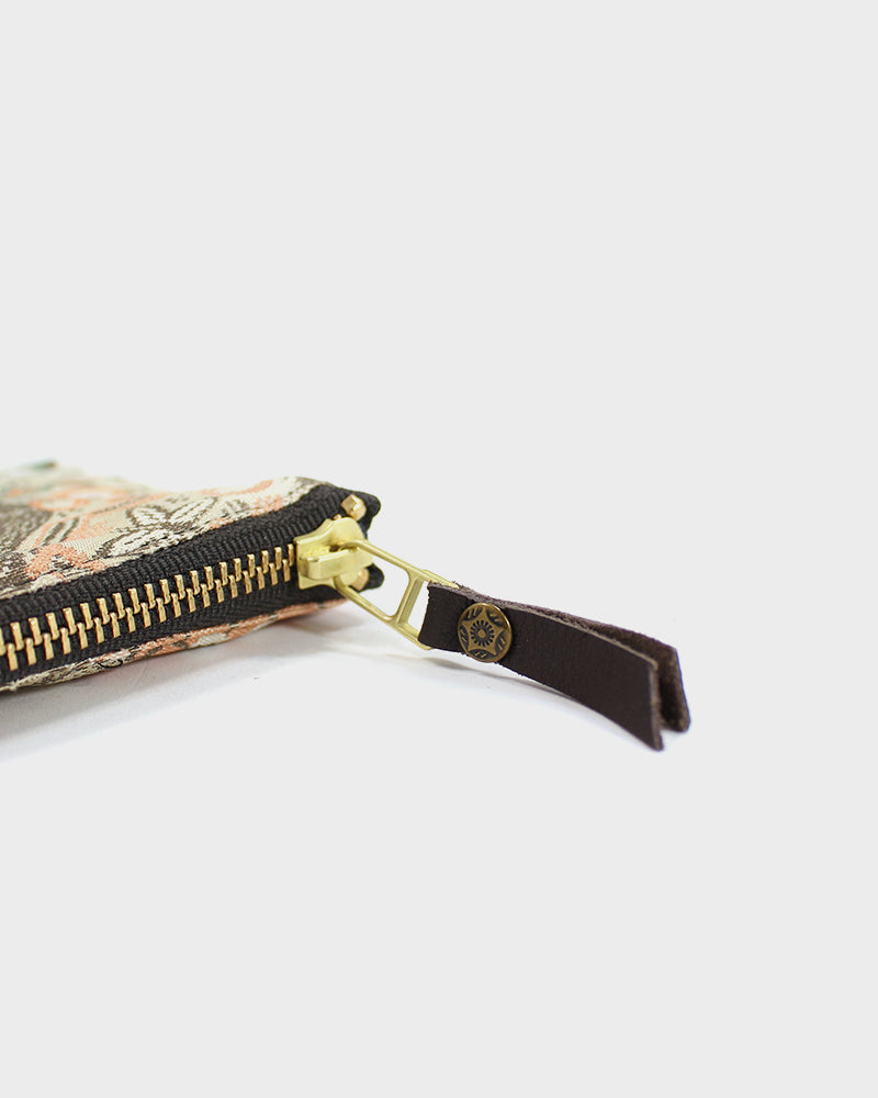 Zipper Wallet, Tan and Cream Kiku Obi