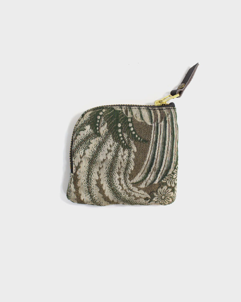 Zipper Wallet, Obi Green and Orange Kiku