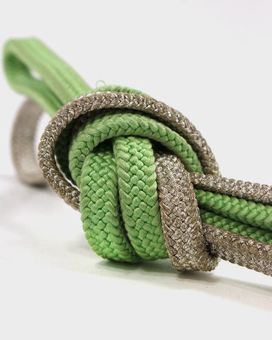 Vintage Obijime Belt, Split Silver and Green