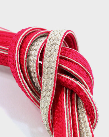 Vintage Obijime Belt, Pink and White With Woven Silver