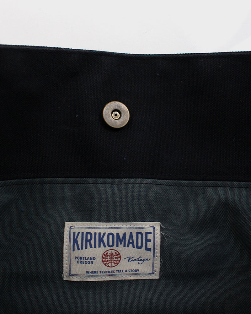 Waxed Canvas Obi Tote Bag, Black with Cranes