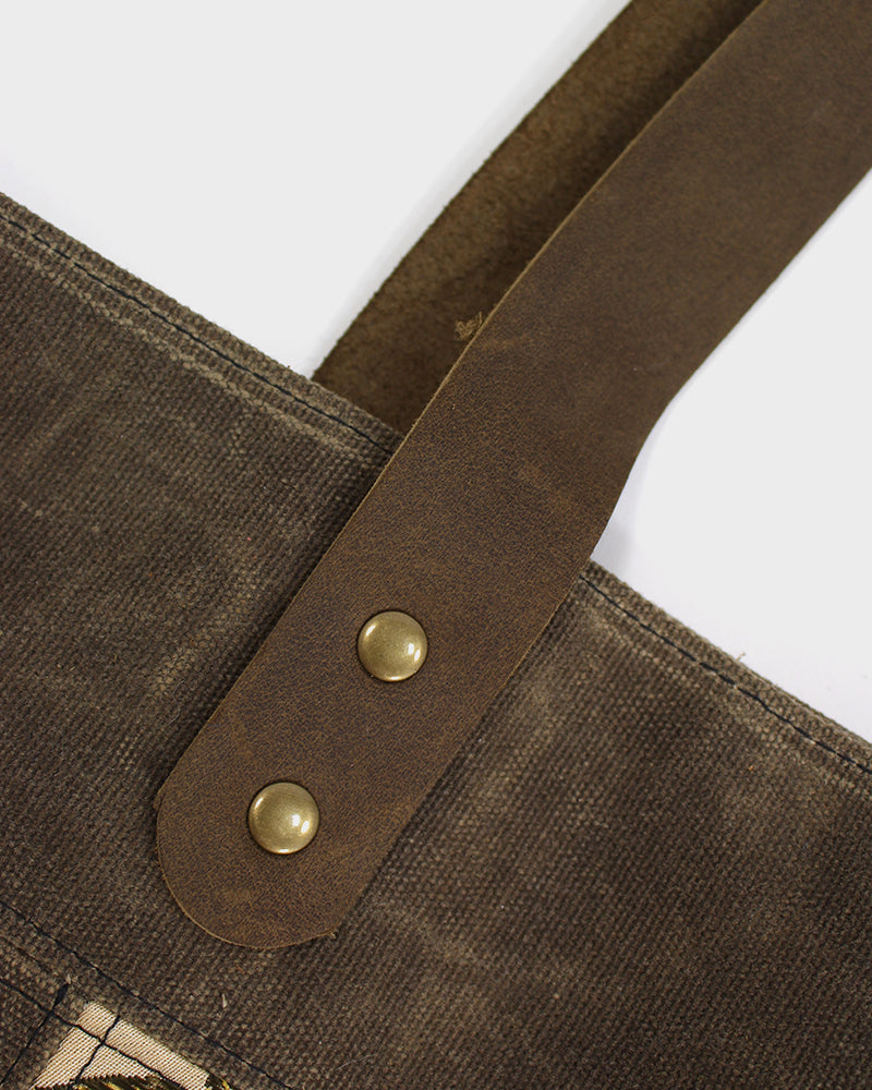 Waxed Canvas Obi Tote Bag, Olive Green with Cranes
