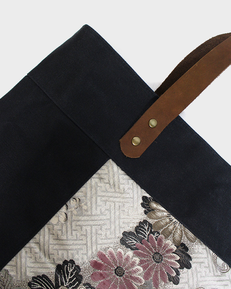 Waxed Canvas Obi Tote Bag, Black, Silver Floral
