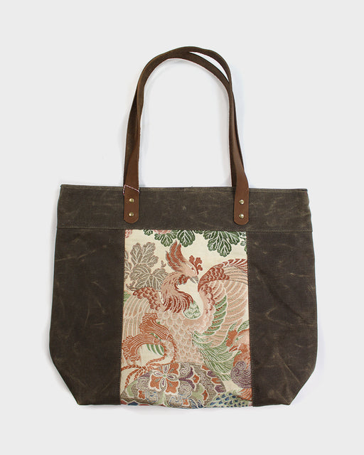 Waxed Canvas Obi Tote Bag, Brown with Phoenix