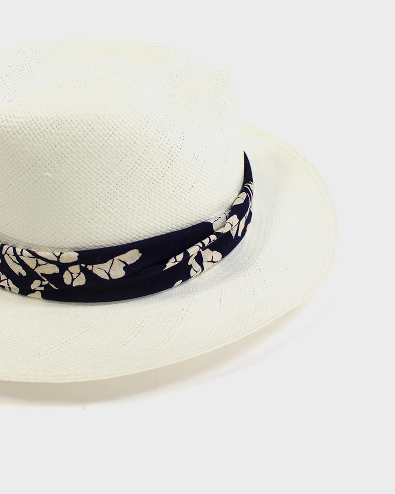 Panama Hat, Indigo and Cream Floral
