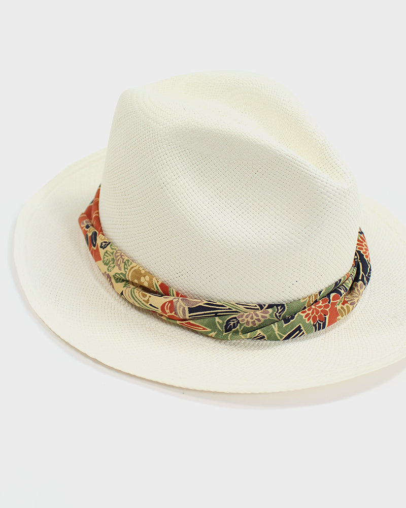 Panama Hat, Vintage Chrysanthemum Twisted Band
