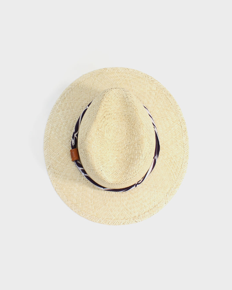Palm Straw Panama Hat, Purple Genji Twisted Band