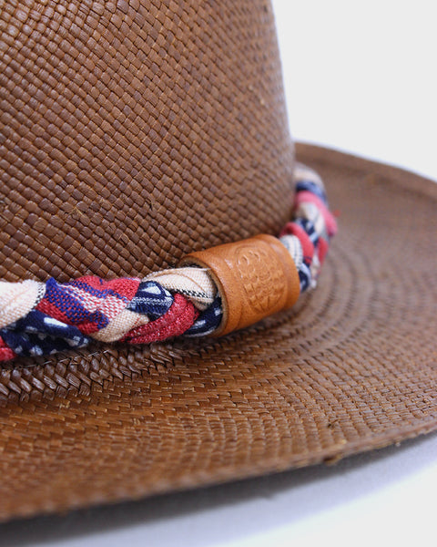 Panama Hat, Blue Ikat and Pink Stripes