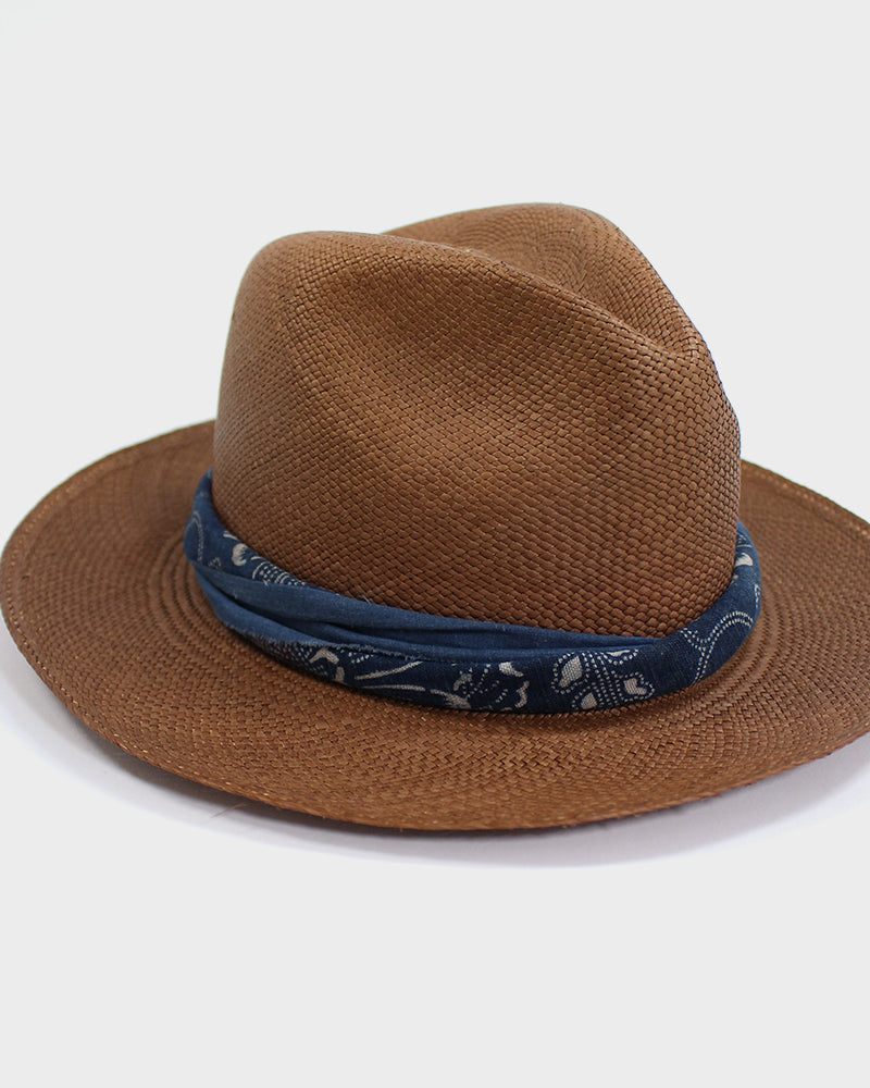 Panama Hat, Vintage Katazome and Solid Indigo Twisted Band