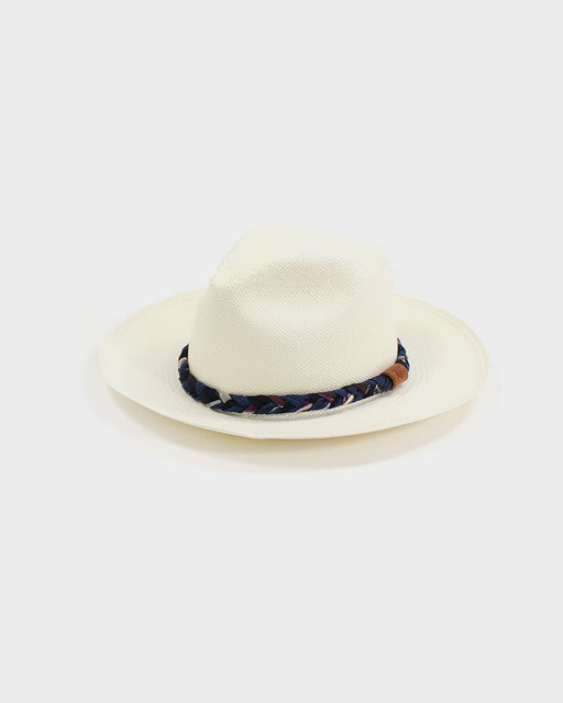Panama Hat, Vintage Plum and Indigo Braided Band