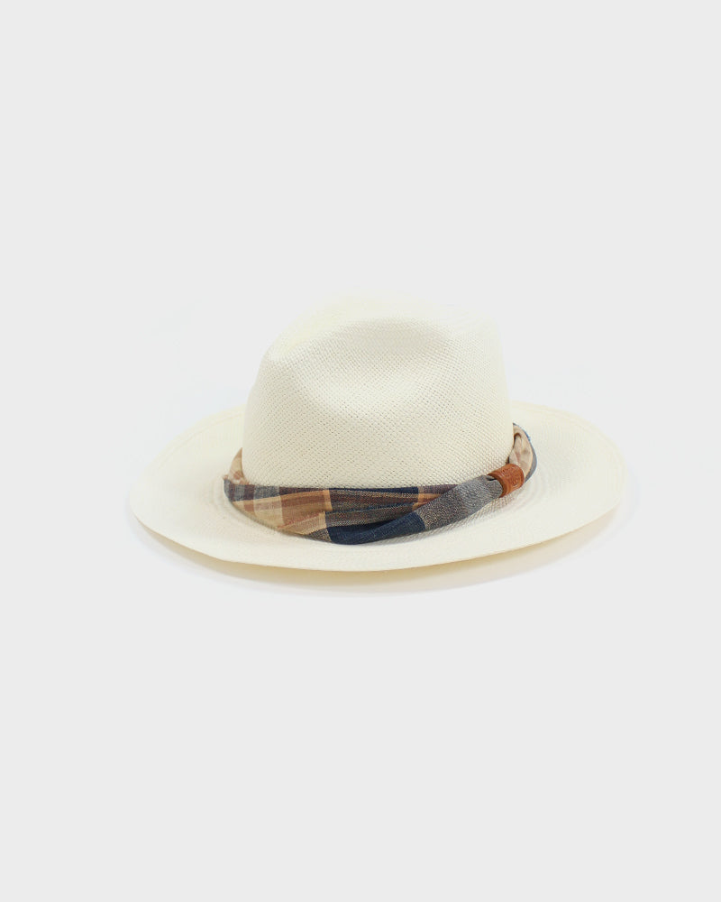 Panama Hat, Vintage Peach, Brown, and Indigo Twisted Band