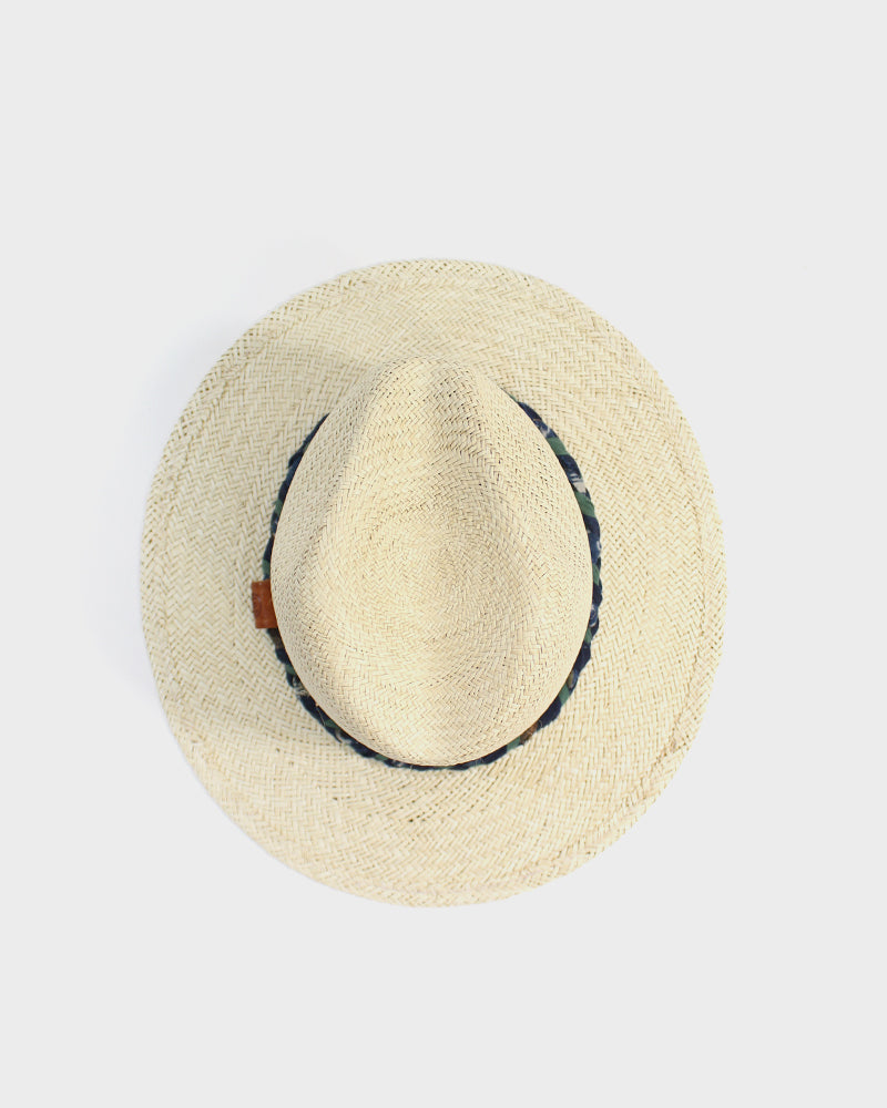 Palm Straw Panama Hat, Indigo & Green Braided Band