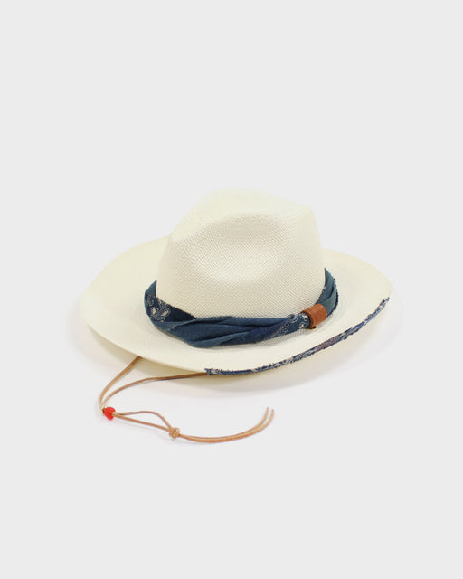 Panama Hat, Vintage Katazome Twisted Band with Accented Brim