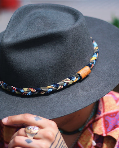 Kiriko Wool Felt Hat, Indigo Kasuri and Orange Plaid Hat Band