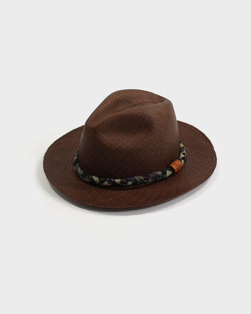 Panama Hat, Vintage Brown, and Green Shima, Braided Band
