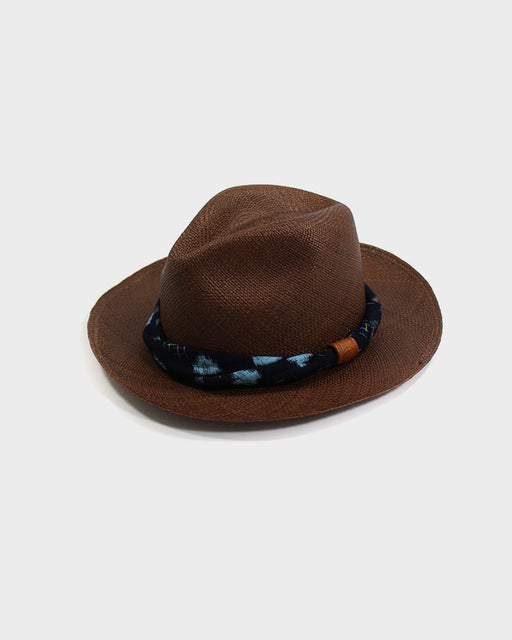 Panama Hat, Vintage Blue and Indigo Igeta, Twisted Band