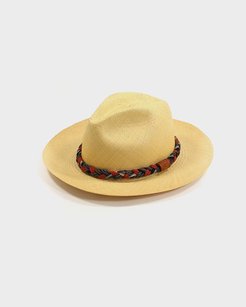 Panama Hat, Vintage Burnt Orange, Indigo Shima and Plaid, Braided Band