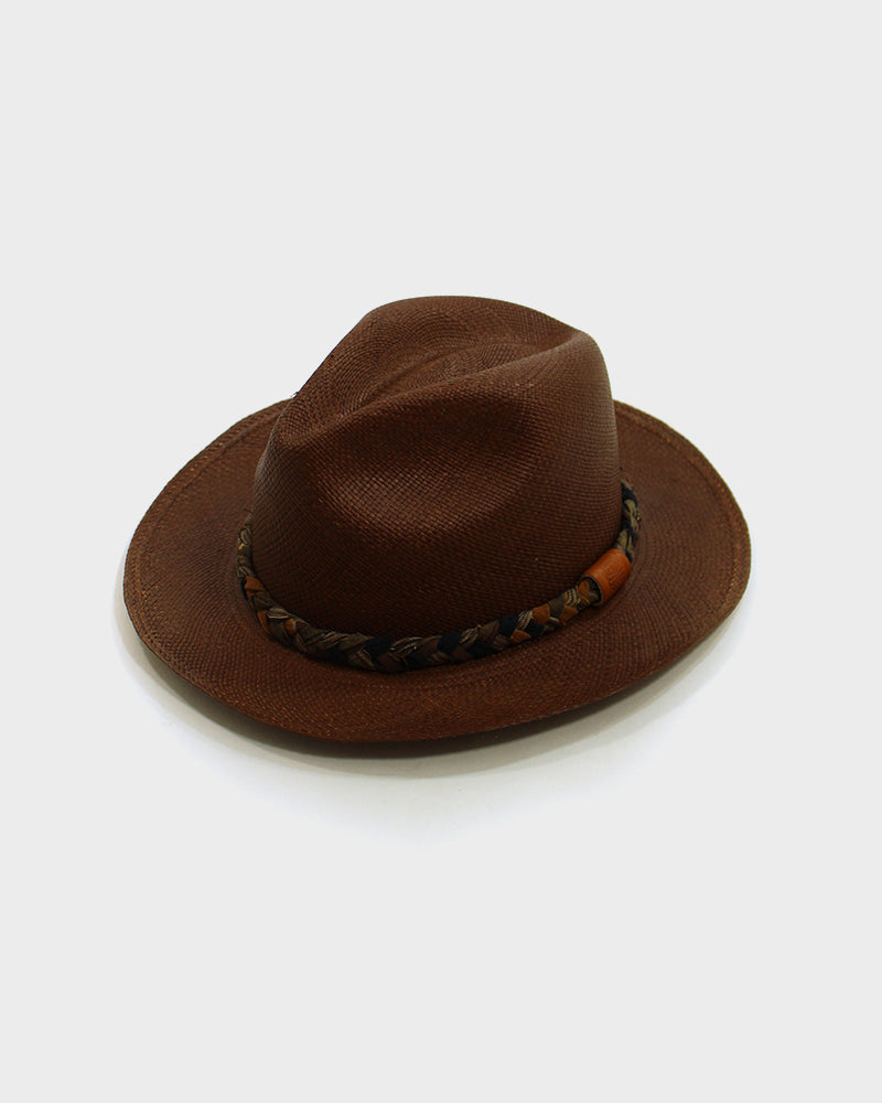 Panama Hat, Boro Braided Hat Band, Indigo and Orange