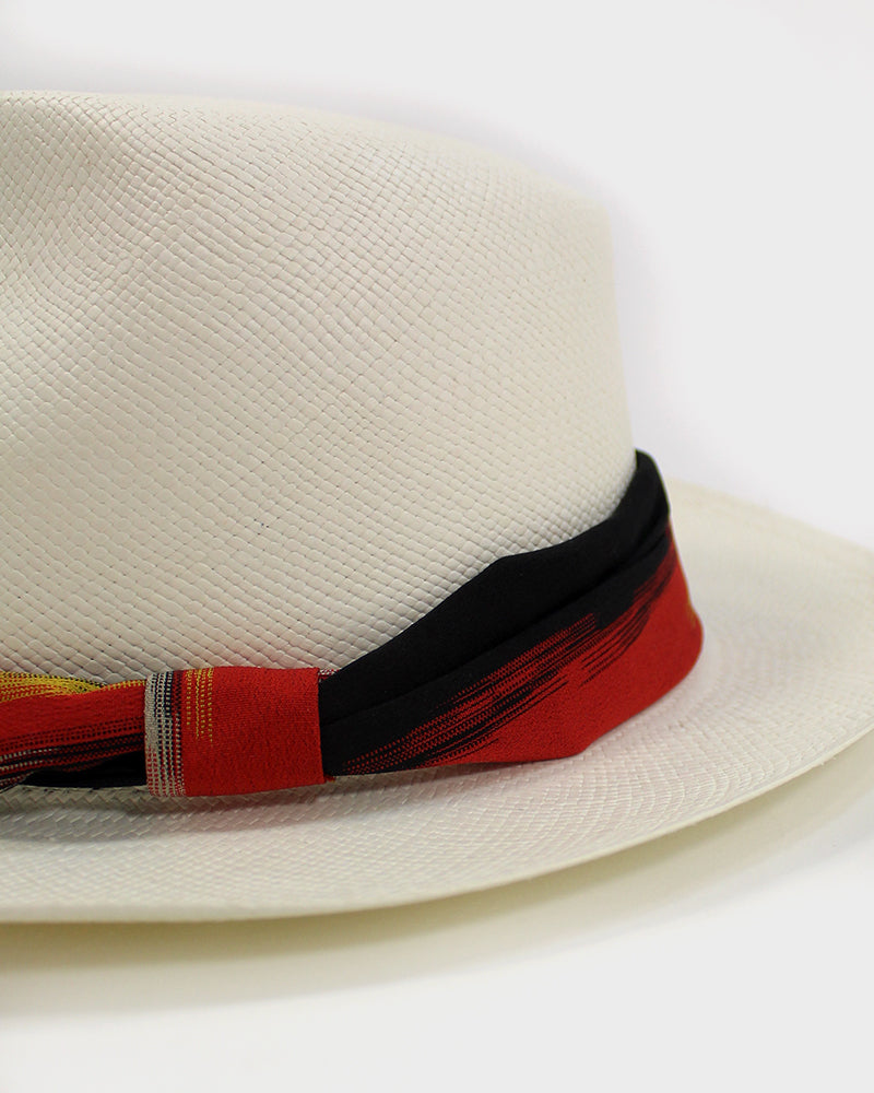 Panama Hat, Kimono Hat Band, Red and Black