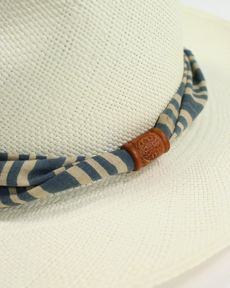 Panama Hat, Vintage Indigo and Cream Shima Boro, Twisted Band