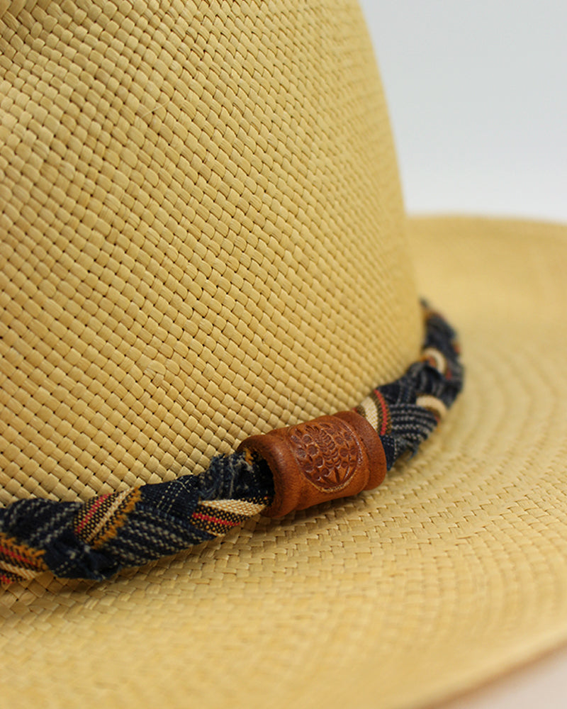 Panama Hat, Vintage Indigo, and Red, Shima and Plaid, Braided Band