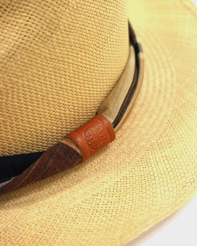 Panama Hat, Orange and Indigo Plaid Twisted Band