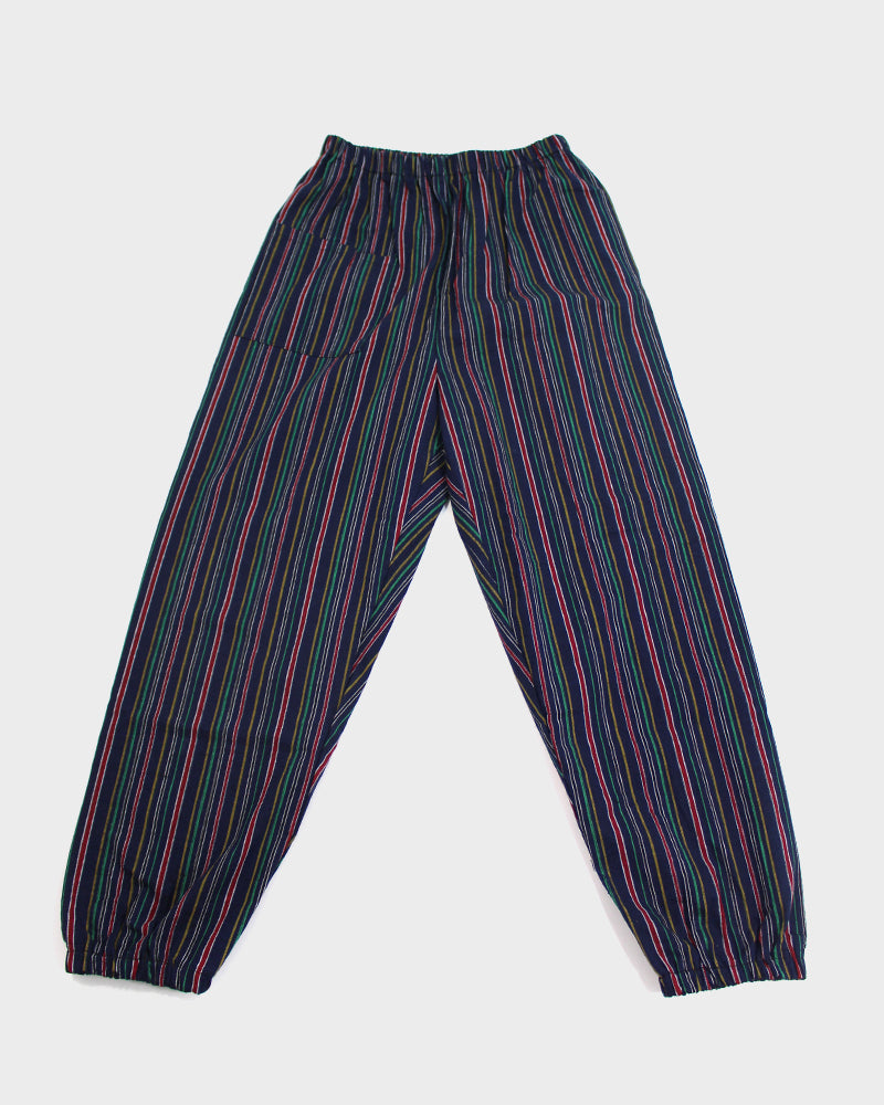 Monpe Pants, Indigo with Multi-Colored Shima