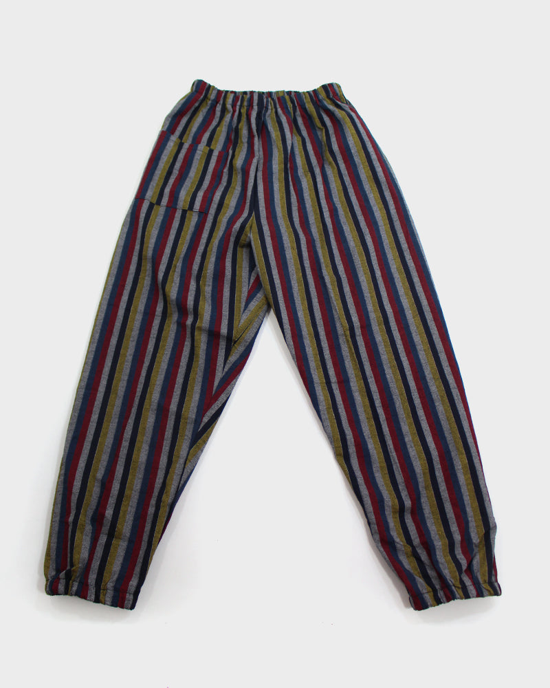 Monpe Pants, Grey with Blue, Red and Yellow Shima