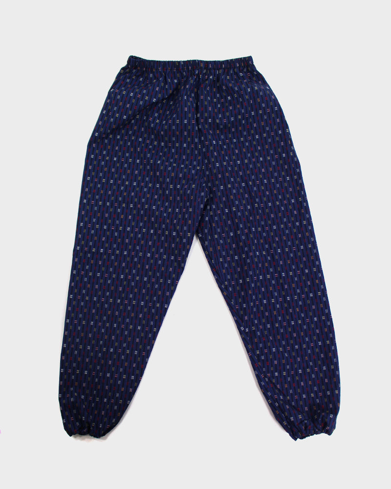 Monpe Pants, Blue with Multi-Colored Igeta