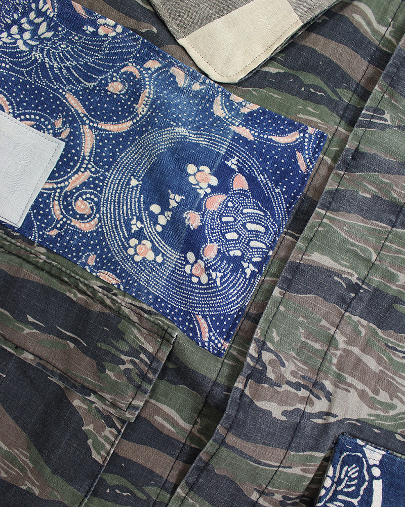 Camo Patched Military Jacket, with Katazome