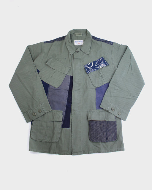 Green Patched Military Jacket, with Katazome and Boro