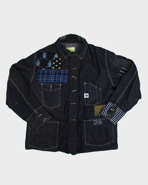 One of a Kind Boro Patched Vintage Post Overalls Jacket (L)