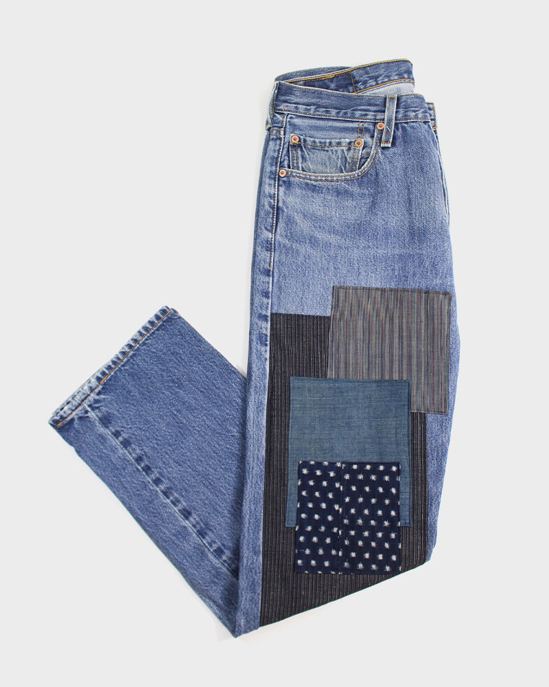 Premium Selvedge Denim Vintage-Wash, Patched Boro, Indigo Shima and Dots