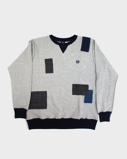 Patchwork Grey with Navy Trim Sweatshirt