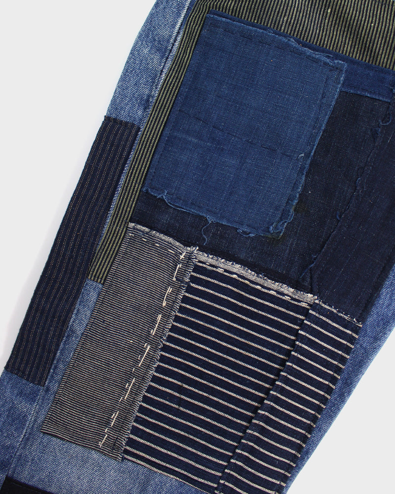 Premium Selvedge Denim Vintage-Wash, Patched Green Boro and Indigo Shima